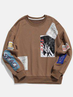 Crew Neck Applique Embellished Pullover Sweatshirt - Coffee Xl