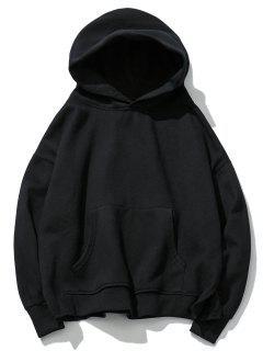 Loose Fit Pullover Fleece Hoodie - Black M