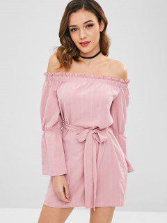 ZAFUL Frilled Off Shoulder Flare Sleeve Dress - Lipstick Pink L