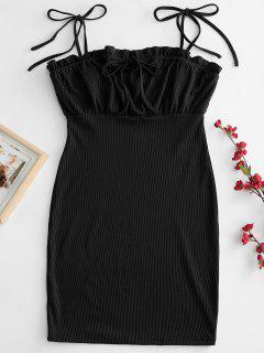 Tie Shoulder Ruffle Mini Dress - Black M