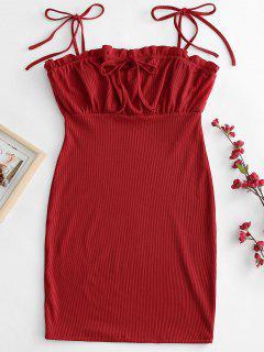 Tie Shoulder Ruffle Mini Dress - Red L