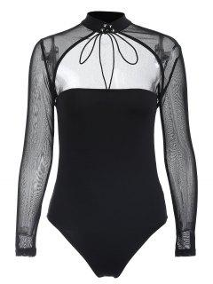 High Neck Cutout Mesh Insert Bodysuit - Black M