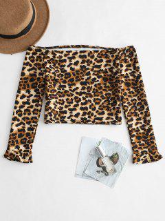 Off Schulter Leopard Crop T-Shirt - Leopard L