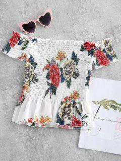 Flower Print Flounce Smocked Top - Multi L