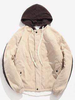 Contrast Letter Corduroy Quilted Jacket - Light Khaki 2xl