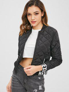 Quilted Graphic Bomber Jacket - Black Xl