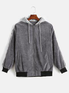 Hooded Corduroy Contrast Zipper Jacket - Gray Xl