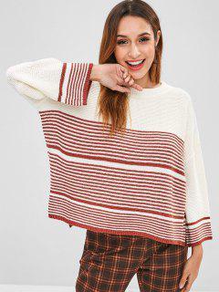Suéter De Corte Lateral De Rayas De Gran Tamaño - Blanco Cálido