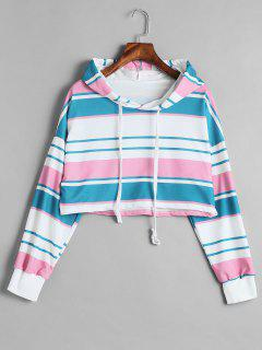 Striped Drop Shoulder Short Hoodie - Multi M