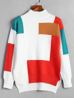 High Low Slit Color Block Sweater - White