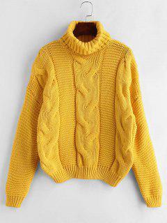 Zopfmuster Rollkragen Pullover Pullover - Helles Gelb