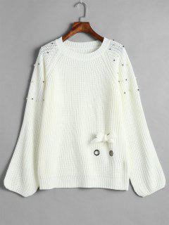 Raglan Sleeve Lace Up Beaded Sweater - White