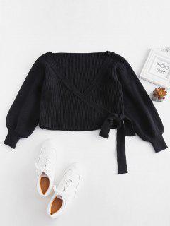 Wrap Kurzer Pullover - Schwarz
