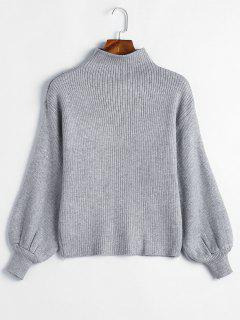 Balloon Sleeve Solid Color Sweater - Gray Cloud