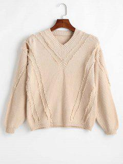 V Neck Frayed Knit Sweater - Light Khaki