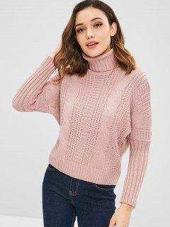 Turtleneck Cable Knit Dolman Sweater - Light Pink