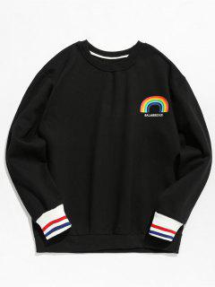 Rainbow Printed Pullover Fleece Sweatshirt - Black M