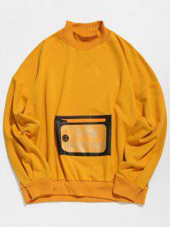 PU Kangaroo Pocket Pullover Sweatshirt - Bee Yellow Xl