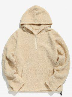 Half Zip Faux Fur Pullover Hoodie - Light Khaki M