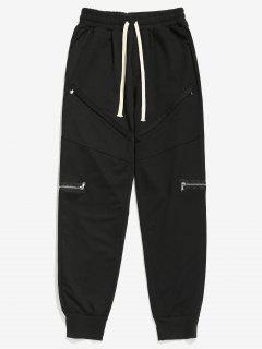 Zipper Decor Drawstring Jogger Pants - Black 2xl