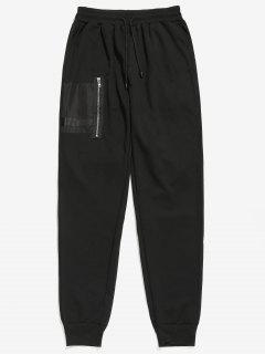 Patchwork Zipper Pocket Jogger Pants - Black 2xl