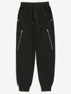 Zipper Decoration Drawstring Jogger Pants - Black M