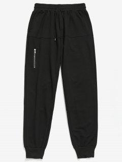 Zipper Decoration Pockets Jogger Pants - Black 2xl