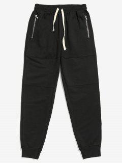 Side Zipper Pockets Jogger Pants - Black M