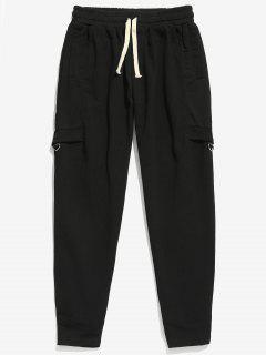 Patchwork Pockets Design Jogger Pants - Black Xl
