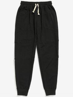 Side Stripe Pockets Jogger Pants - Black M