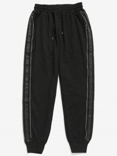 Side Stripe Zipper Jogger Pants - Black 2xl