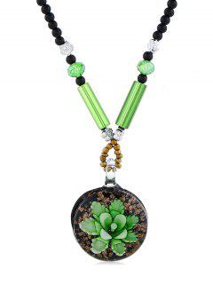 Ethnic Flower Printed Beaded Pendant Necklace - Green