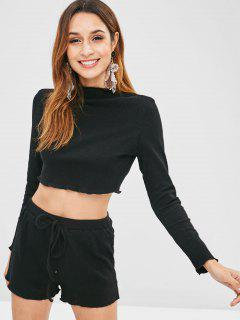 ZAFUL Ribbed Knit Tee And Shorts Set - Black S