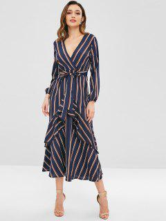 Long Sleeve Ruffles Stripes Maxi Dress - Midnight Blue L