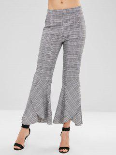 Plaid Casual Flare Pants - Dark Gray L
