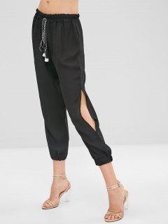 Elastic Waist Chiffon Split Pants - Black L