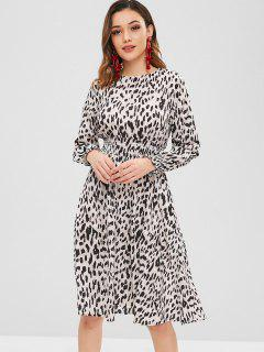 Smocked Leopard Long Sleeve Dress - Leopard S