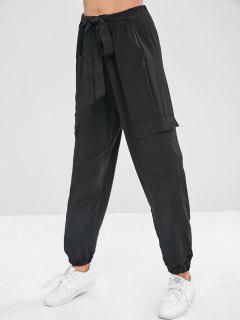 Tied High Waist Pants With Pocket - Black L