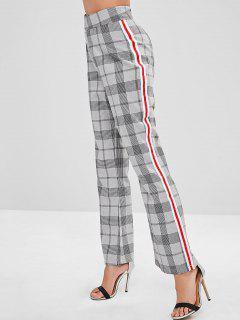 Contrast Side Plaid Pants - Dark Gray L