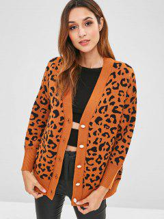Button Up Leopard Strickjacke - Tiger Orange