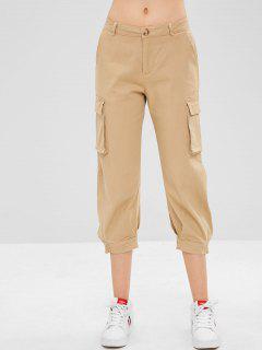 Pantalones Capri De Puño Plisado - Caqui M