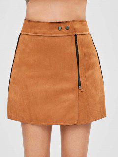 Faux Suede Zipper Front Skirt - Light Brown Xl