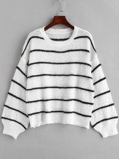 Locker Gestreifter Pullover - Weiß