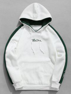 Color Clock Letter Printed Pullover Hoodie - White Xs