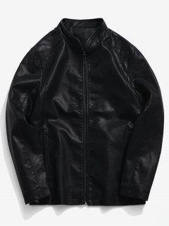 Solid PU Triangle Print Pockets Zip Coat - Black Xs