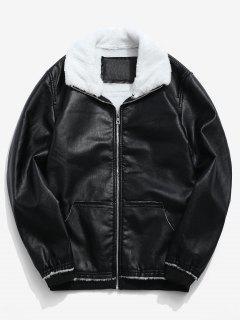 Fluffy Neck Pocket Casual PU Zip Jacket - Black M