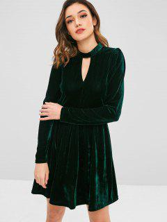 ZAFUL Velvet A Line Keyhole Dress - Dark Green S