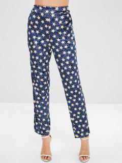 ZAFUL Star Pattern Velvet Straight Pants - Dark Slate Blue M