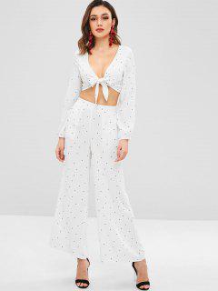 ZAFUL Polka Dot Knot Blouse And Pants Set - White M
