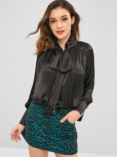 ZAFUL Blouse Lâche Simple à Nœud Papillon - Noir S